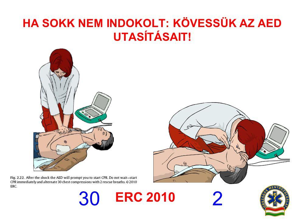 HA SOKK NEM INDOKOLT: KÖVESSÜK AZ AED UTASÍTÁSAIT! 30 2 ERC 2010