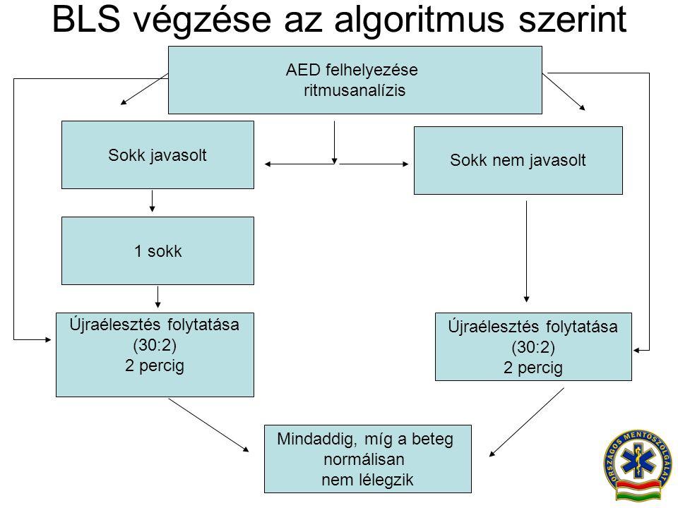 BLS végzése az algoritmus szerint Sokk nem javasolt Újraélesztés folytatása (30:2) 2 percig Mindaddig, míg a beteg normálisan nem lélegzik Sokk javaso