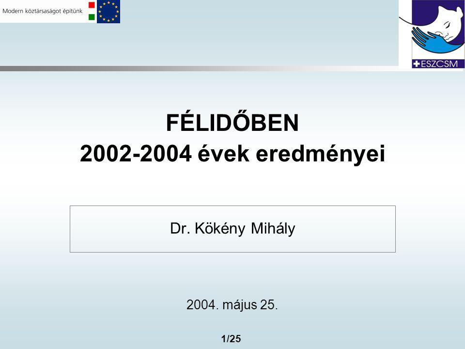 1/25 FÉLIDŐBEN 2002-2004 évek eredményei Dr. Kökény Mihály 2004. május 25.