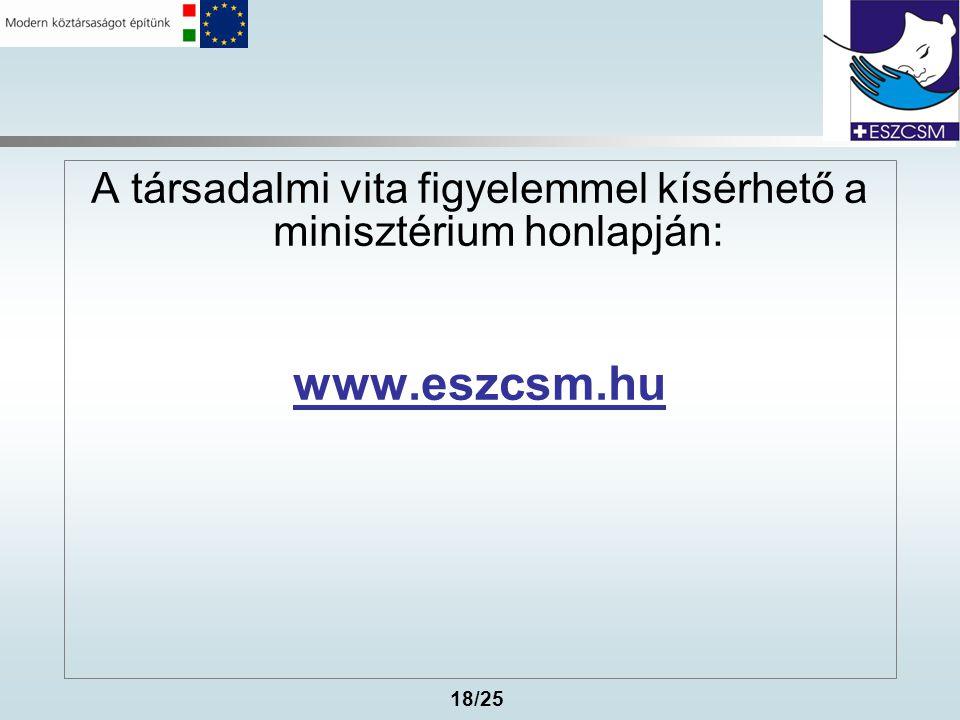 18/25 A társadalmi vita figyelemmel kísérhető a minisztérium honlapján: www.eszcsm.hu