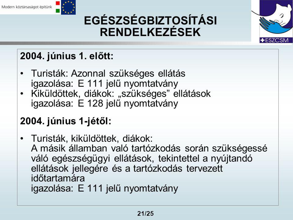 21/25 EGÉSZSÉGBIZTOSÍTÁSI RENDELKEZÉSEK 2004. június 1. előtt: •Turisták: Azonnal szükséges ellátás igazolása: E 111 jelű nyomtatvány •Kiküldöttek, di