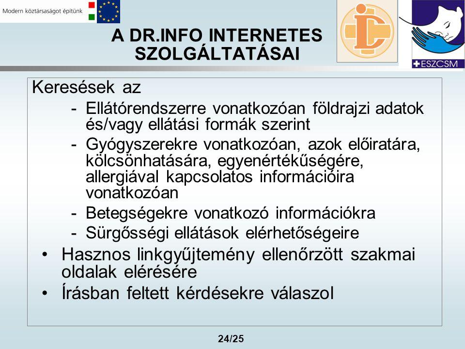24/25 A DR.INFO INTERNETES SZOLGÁLTATÁSAI Keresések az -Ellátórendszerre vonatkozóan földrajzi adatok és/vagy ellátási formák szerint -Gyógyszerekre v