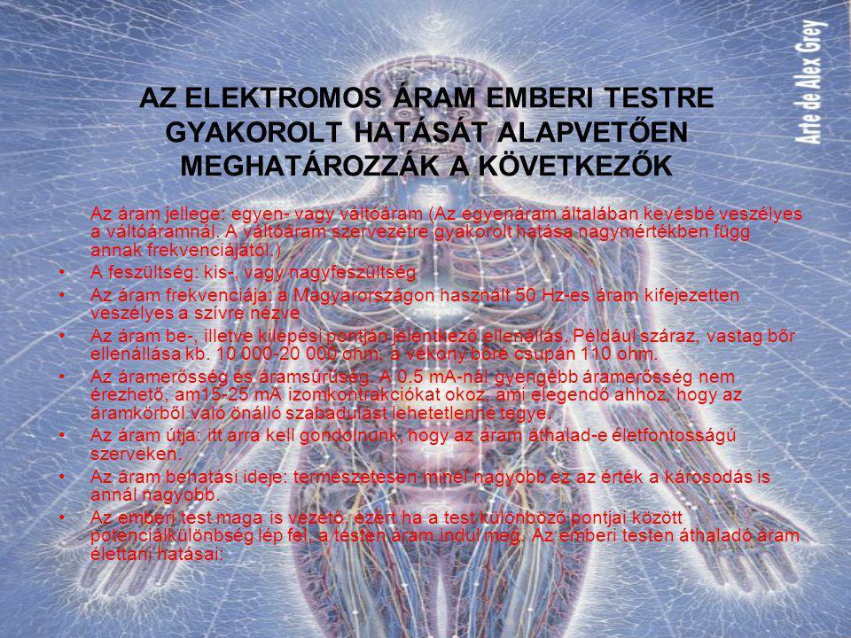 AZ ELEKTROMOS ÁRAM EMBERI TESTRE GYAKOROLT HATÁSÁT ALAPVETŐEN MEGHATÁROZZÁK A KÖVETKEZŐK Az áram jellege: egyen- vagy váltóáram (Az egyenáram általába