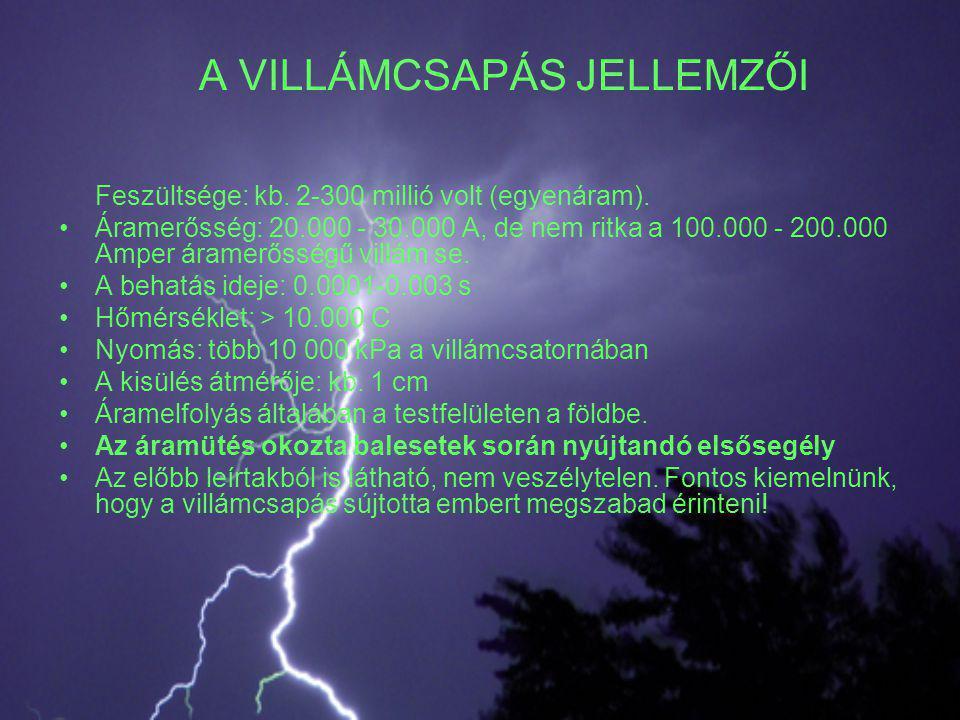 A VILLÁMCSAPÁS JELLEMZŐI Feszültsége: kb. 2-300 millió volt (egyenáram). •Áramerősség: 20.000 - 30.000 A, de nem ritka a 100.000 - 200.000 Amper árame