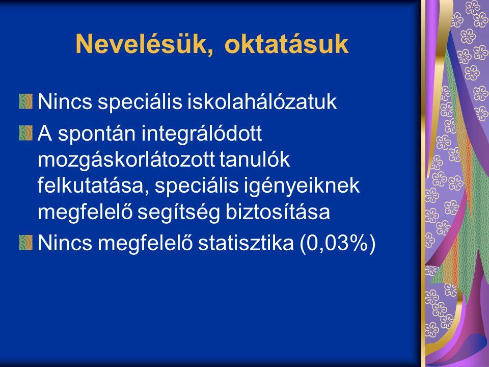 Nevelésük, oktatásuk Nincs speciális iskolahálózatuk A spontán integrálódott mozgáskorlátozott tanulók felkutatása, speciális igényeiknek megfelelő segítség biztosítása Nincs megfelelő statisztika (0,03%)