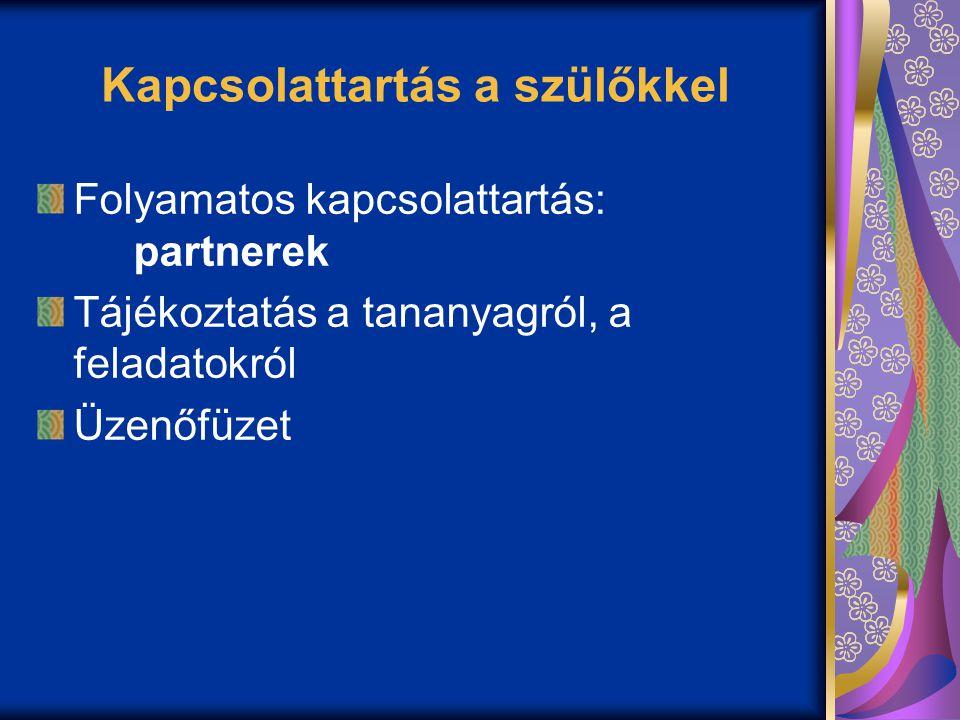 Kapcsolattartás a szülőkkel Folyamatos kapcsolattartás: partnerek Tájékoztatás a tananyagról, a feladatokról Üzenőfüzet