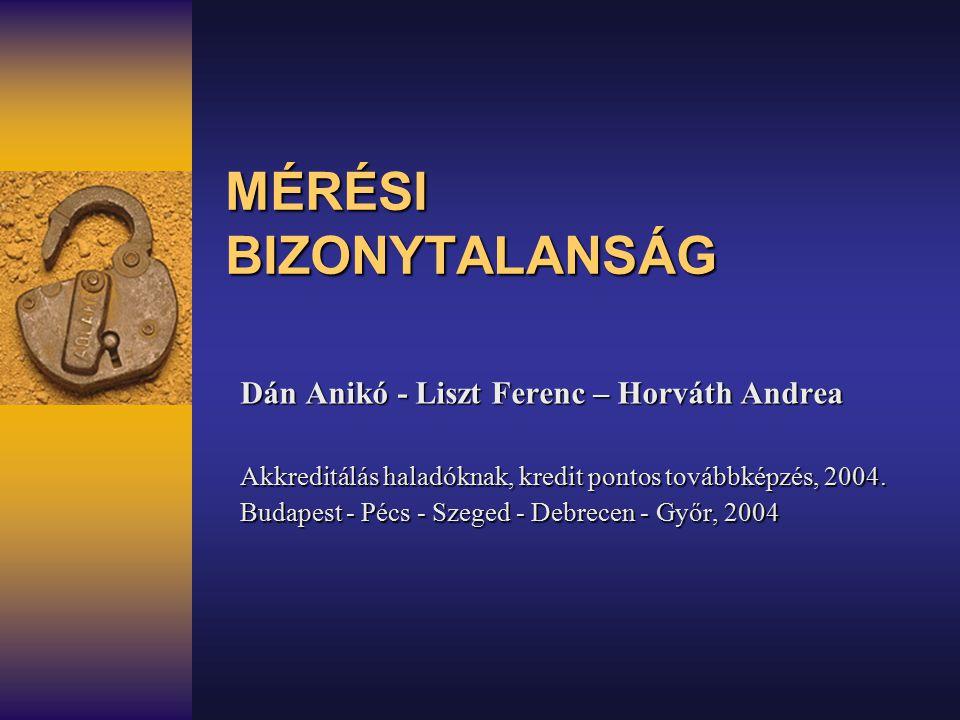 MÉRÉSI BIZONYTALANSÁG Dán Anikó - Liszt Ferenc – Horváth Andrea Akkreditálás haladóknak, kredit pontos továbbképzés, 2004. Budapest - Pécs - Szeged -