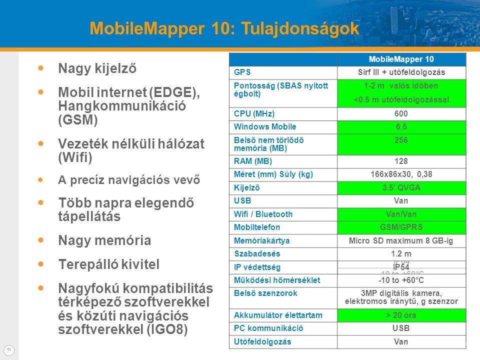 11 MobileMapper 10: Tulajdonságok  Nagy kijelző  Mobil internet (EDGE), Hangkommunikáció (GSM)  Vezeték nélküli hálózat (Wifi)  A precíz navigációs vevő  Több napra elegendő tápellátás  Nagy memória  Terepálló kivitel  Nagyfokú kompatibilitás térképező szoftverekkel és közúti navigációs szoftverekkel (IGO8) MobileMapper 10 GPSSirf III + post processing Accuracy (SBAS open sky) 1-2 m real time <0.5 m post processing CPU (MHz)600 Windows Mobile6.5 Flash (MB)256 RAM (MB)128 Size (mm) Weight (g)166x86x30, 380g Display3.5' QVGA USBYes Wifi / BTY/Y CellularGSM/GPRS Memory cardMicro SD up to 8 GB Drop1.2 m IP rateIP54 Operating temperature-10 to +60°C Sensors3M Camera, e compass g sensor Battery life> 20 hours InterfaceUSB Post processingYes MobileMapper 10 GPSSirf III + utófeldolgozás Pontosság (SBAS nyitott égbolt) 1-2 m valós időben <0.5 m utófeldolgozással CPU (MHz)600 Windows Mobile6.5 Belső nem törlődő memória (MB) 256 RAM (MB)128 Méret (mm) Súly (kg)166x86x30, 0,38 Kijelző3.5' QVGA USBVan Wifi / BluetoothVan/Van MobiltelefonGSM/GPRS MemóriakártyaMicro SD maximum 8 GB-ig Szabadesés1.2 m IP védettségIP54 Működési hőmérséklet-10 to +60°C Belső szenzorok3MP digitális kamera, elektromos iránytű, g szenzor Akkumulátor élettartam> 20 óra PC kommunikációUSB UtófeldolgozásVan