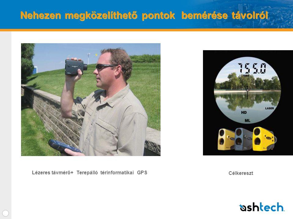 Nehezen megközelíthető pontok bemérése távolról Lézeres távmérő+ Terepálló térinformatikai GPS Célkereszt