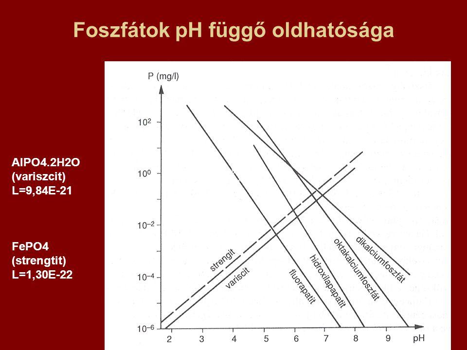Foszfátok pH függő oldhatósága AlPO4.2H2O (variszcit) L=9,84E-21 FePO4 (strengtit) L=1,30E-22 9,84E- 21