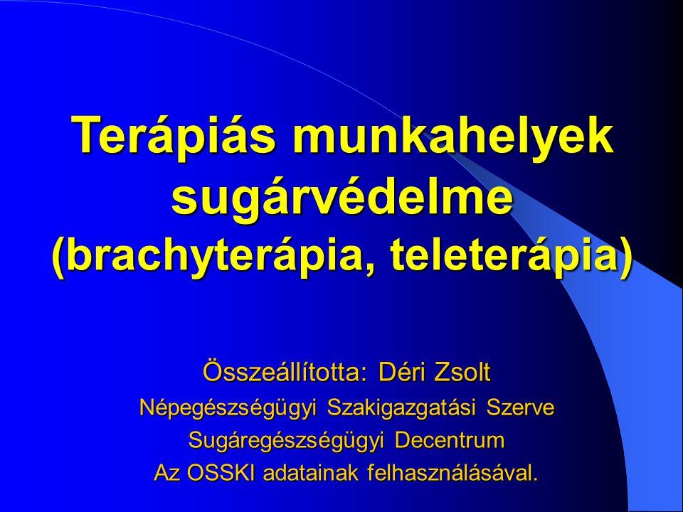 Terápiás munkahelyek sugárvédelme (brachyterápia, teleterápia) Összeállította: Déri Zsolt Népegészségügyi Szakigazgatási Szerve Sugáregészségügyi Dece