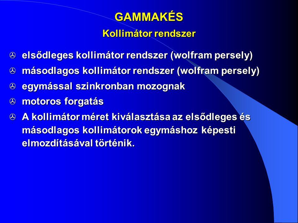 GAMMAKÉS  elsődleges kollimátor rendszer (wolfram persely)  másodlagos kollimátor rendszer (wolfram persely)  egymással szinkronban mozognak  moto