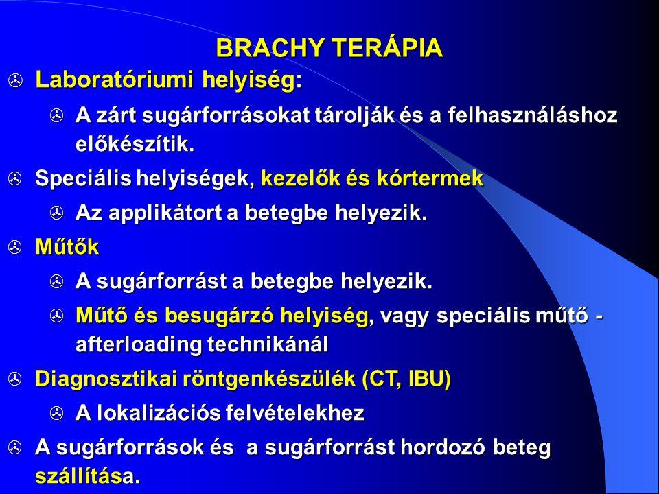 BRACHY TERÁPIA  Laboratóriumi helyiség:  A zárt sugárforrásokat tárolják és a felhasználáshoz előkészítik.  Speciális helyiségek, kezelők és kórter