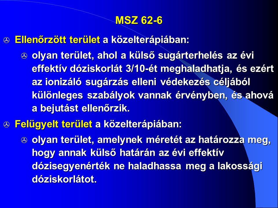 MSZ 62-6  Ellenőrzött terület a közelterápiában:  olyan terület, ahol a külső sugárterhelés az évi effektív dóziskorlát 3/10-ét meghaladhatja, és ez