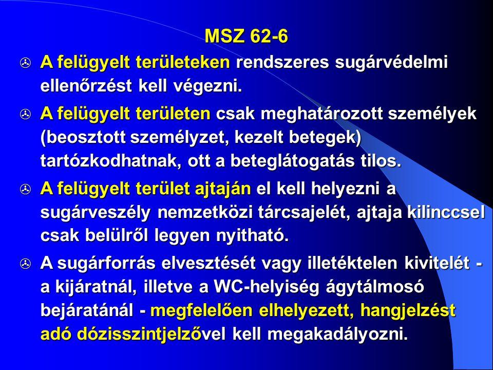 MSZ 62-6  A felügyelt területeken rendszeres sugárvédelmi ellenőrzést kell végezni.  A felügyelt területen csak meghatározott személyek (beosztott s