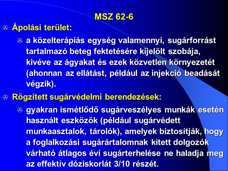 MSZ 62-6  Ápolási terület:  a közelterápiás egység valamennyi, sugárforrást tartalmazó beteg fektetésére kijelölt szobája, kivéve az ágyakat és ezek