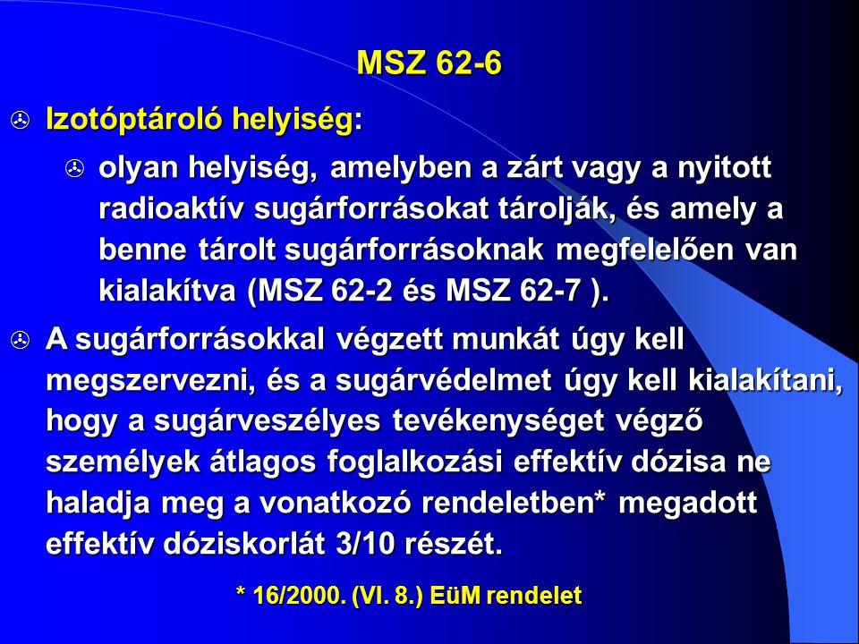 MSZ 62-6  Izotóptároló helyiség:  olyan helyiség, amelyben a zárt vagy a nyitott radioaktív sugárforrásokat tárolják, és amely a benne tárolt sugárf