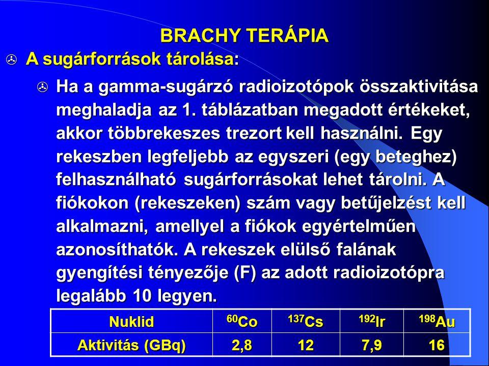 BRACHY TERÁPIA  A sugárforrások tárolása:  Ha a gamma-sugárzó radioizotópok összaktivitása meghaladja az 1. táblázatban megadott értékeket, akkor tö