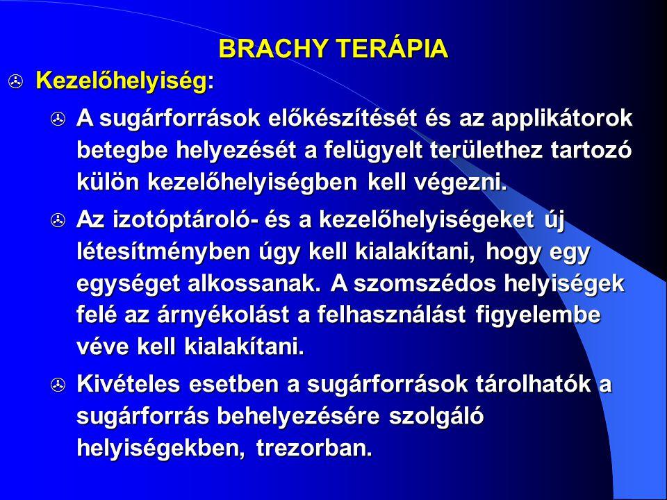 BRACHY TERÁPIA  Kezelőhelyiség:  A sugárforrások előkészítését és az applikátorok betegbe helyezését a felügyelt területhez tartozó külön kezelőhely