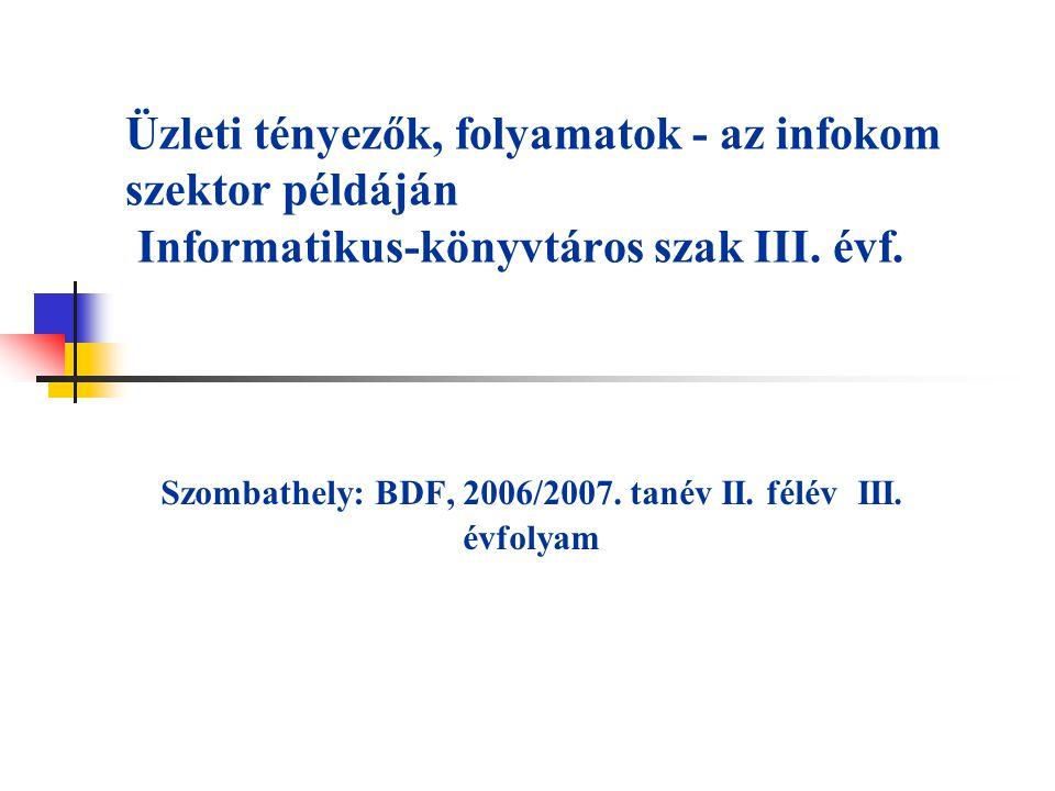 Üzleti tényezők, folyamatok - az infokom szektor példáján Informatikus-könyvtáros szak III. évf. Szombathely: BDF, 2006/2007. tanév II. félév III. évf