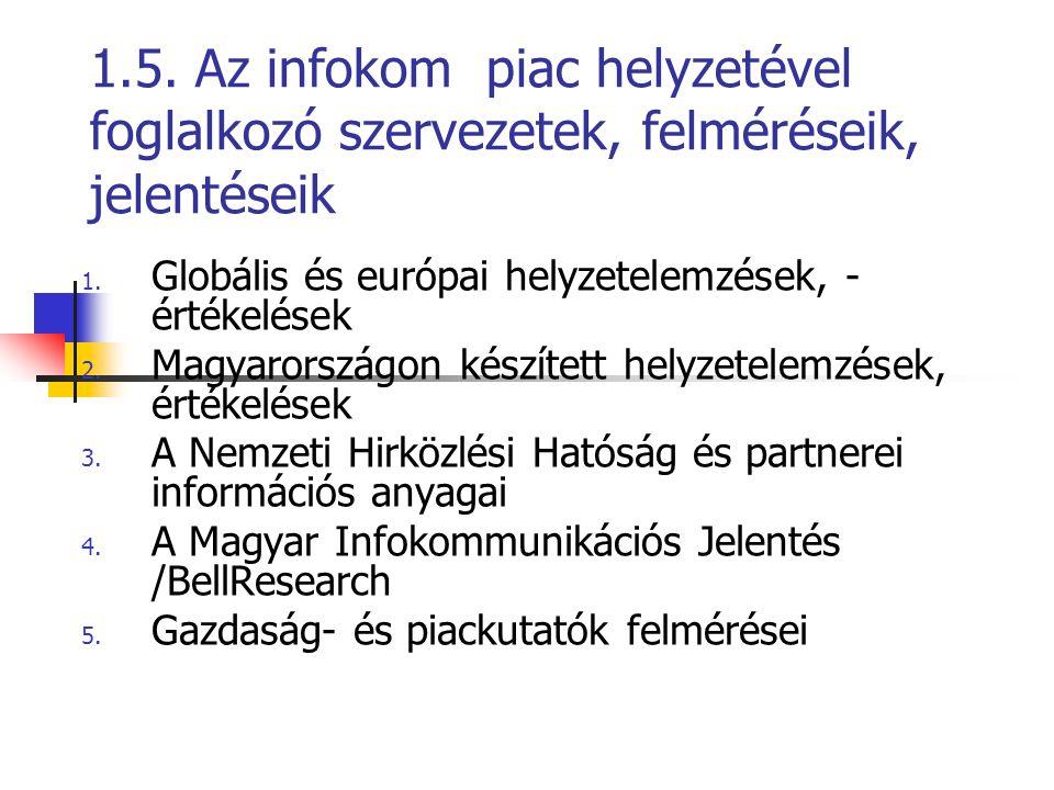 1.5. Az infokom piac helyzetével foglalkozó szervezetek, felméréseik, jelentéseik 1. Globális és európai helyzetelemzések, - értékelések 2. Magyarorsz