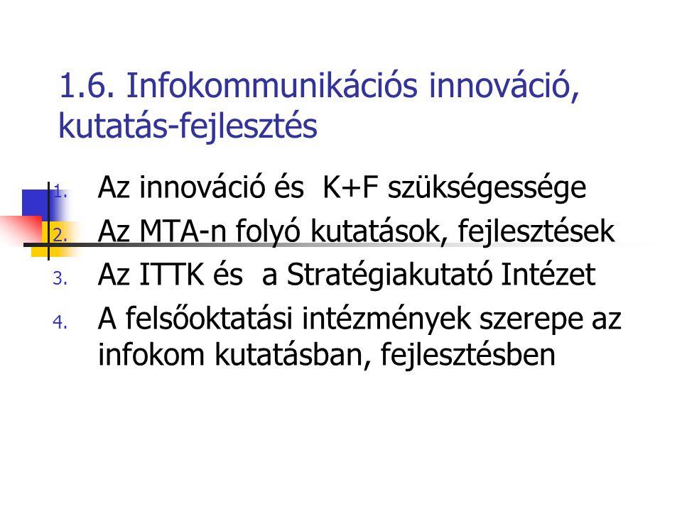 1.6. Infokommunikációs innováció, kutatás-fejlesztés 1. Az innováció és K+F szükségessége 2. Az MTA-n folyó kutatások, fejlesztések 3. Az ITTK és a St