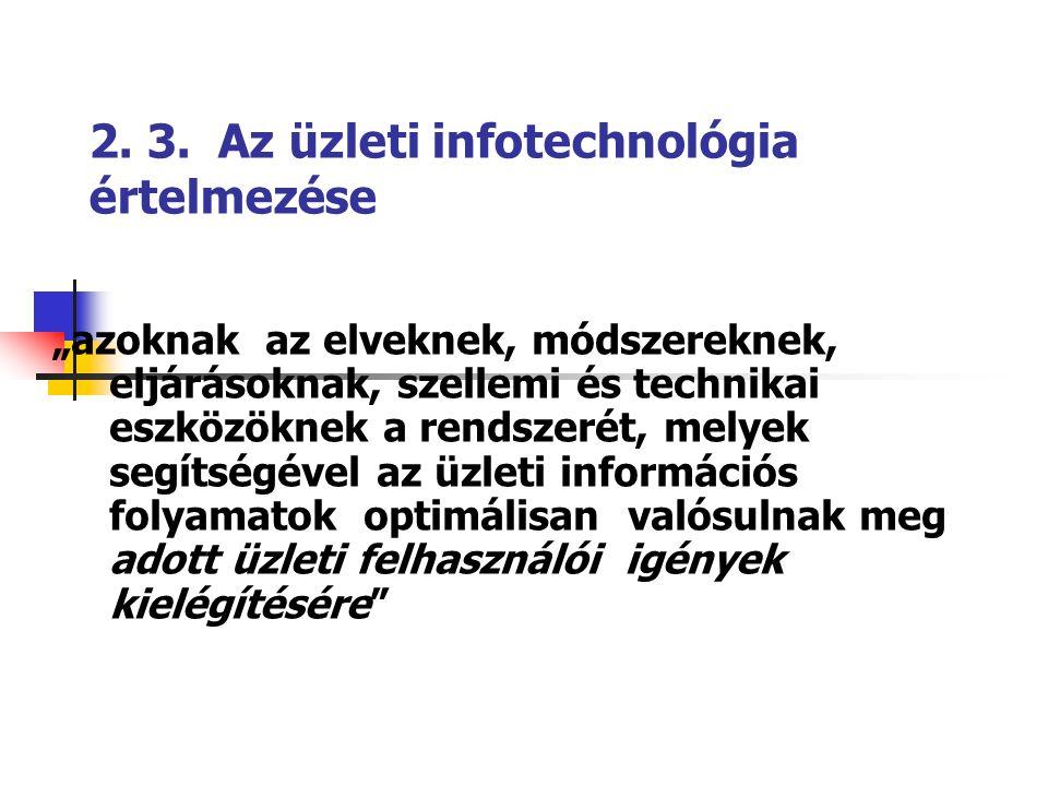 """2. 3. Az üzleti infotechnológia értelmezése """"azoknak az elveknek, módszereknek, eljárásoknak, szellemi és technikai eszközöknek a rendszerét, melyek s"""