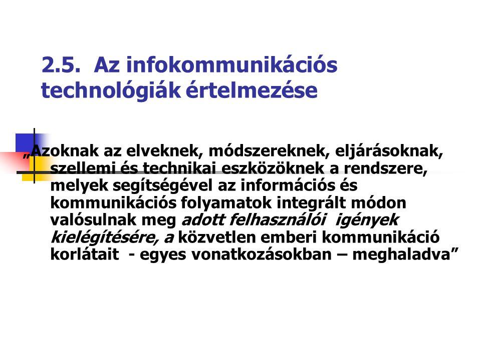 """2.5. Az infokommunikációs technológiák értelmezése """"Azoknak az elveknek, módszereknek, eljárásoknak, szellemi és technikai eszközöknek a rendszere, me"""