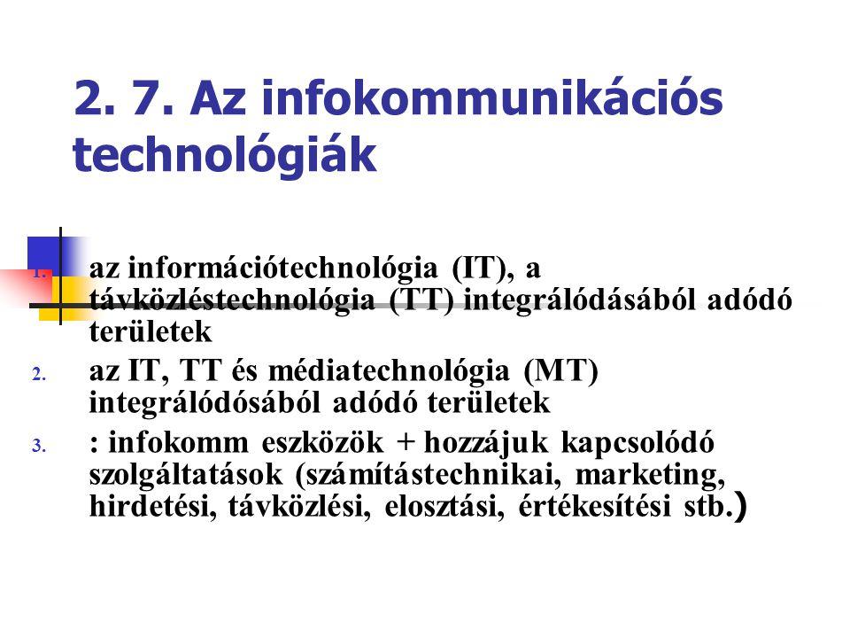 2. 7. Az infokommunikációs technológiák 1. az információtechnológia (IT), a távközléstechnológia (TT) integrálódásából adódó területek 2. az IT, TT és