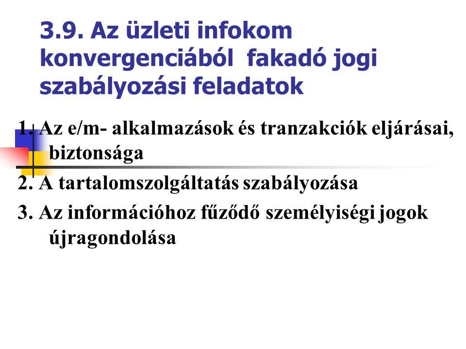 3.9. Az üzleti infokom konvergenciából fakadó jogi szabályozási feladatok 1. Az e/m- alkalmazások és tranzakciók eljárásai, biztonsága 2. A tartalomsz
