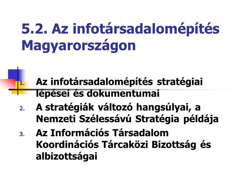 5.2. Az infotársadalomépítés Magyarországon 1. Az infotársadalomépítés stratégiai lépései és dokumentumai 2. A stratégiák változó hangsúlyai, a Nemzet