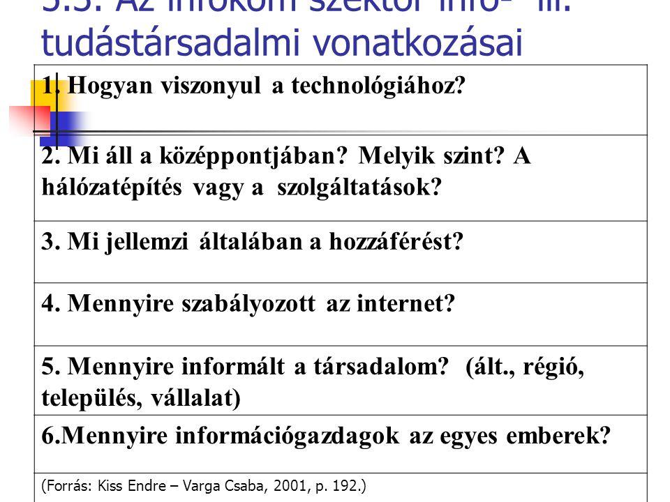 5.3. Az infokom szektor info- ill. tudástársadalmi vonatkozásai 1. Hogyan viszonyul a technológiához? 2. Mi áll a középpontjában? Melyik szint? A háló