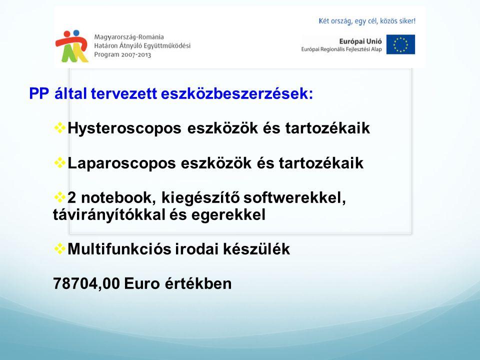 PP által tervezett eszközbeszerzések:  Hysteroscopos eszközök és tartozékaik  Laparoscopos eszközök és tartozékaik  2 notebook, kiegészítő softwerekkel, távirányítókkal és egerekkel  Multifunkciós irodai készülék 78704,00 Euro értékben