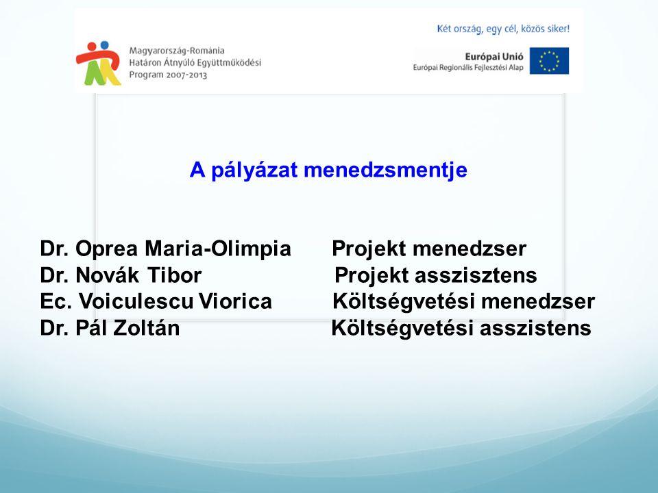A pályázat menedzsmentje Dr. Oprea Maria-Olimpia Projekt menedzser Dr.