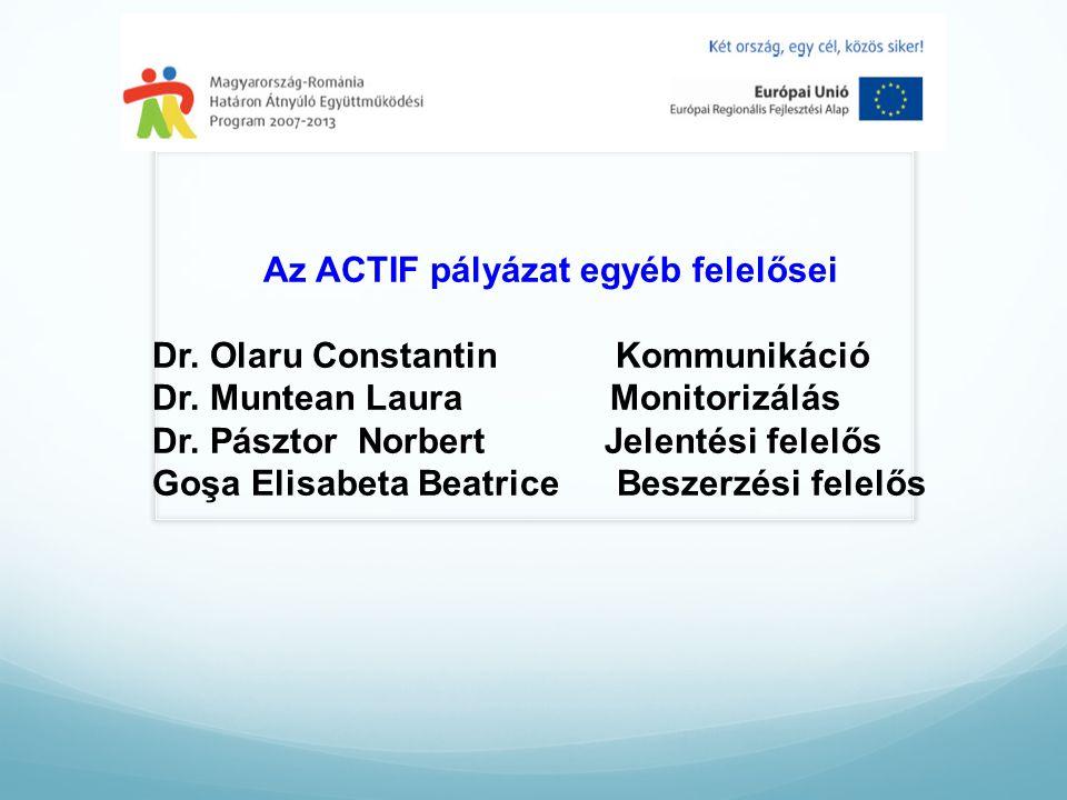 Az ACTIF pályázat egyéb felelősei Dr. Olaru Constantin Kommunikáció Dr.