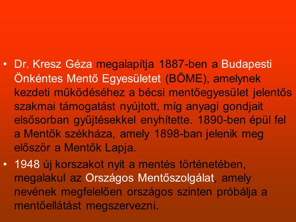 •Dr. Kresz Géza megalapítja 1887-ben a Budapesti Önkéntes Mentő Egyesületet (BÖME), amelynek kezdeti működéséhez a bécsi mentőegyesület jelentős szakm