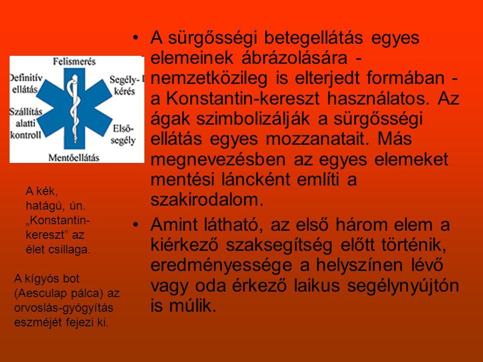 •A sürgősségi betegellátás egyes elemeinek ábrázolására - nemzetközileg is elterjedt formában - a Konstantin-kereszt használatos. Az ágak szimbolizálj