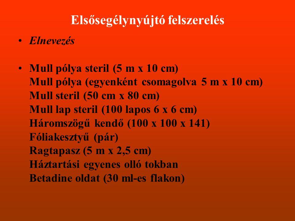 Elsősegélynyújtó felszerelés •Elnevezés •Mull pólya steril (5 m x 10 cm) Mull pólya (egyenként csomagolva 5 m x 10 cm) Mull steril (50 cm x 80 cm) Mul