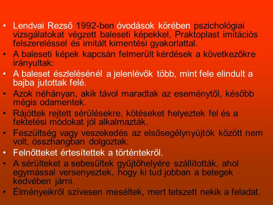 •Lendvai Rezső 1992-ben óvodások körében pszichológiai vizsgálatokat végzett baleseti képekkel, Praktoplast imitációs felszereléssel és imitált kiment