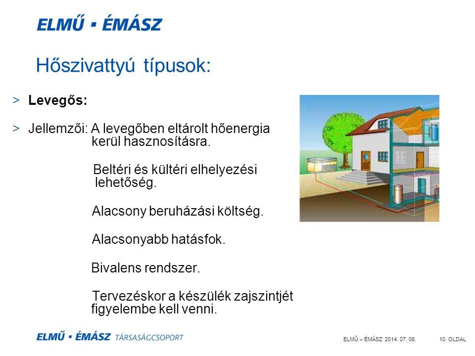 ELMŰ – ÉMÁSZ 2014. 07. 06.10. OLDAL Hőszivattyú típusok: >Levegős: >Jellemzői: A levegőben eltárolt hőenergia kerül hasznosításra. Beltéri és kültéri