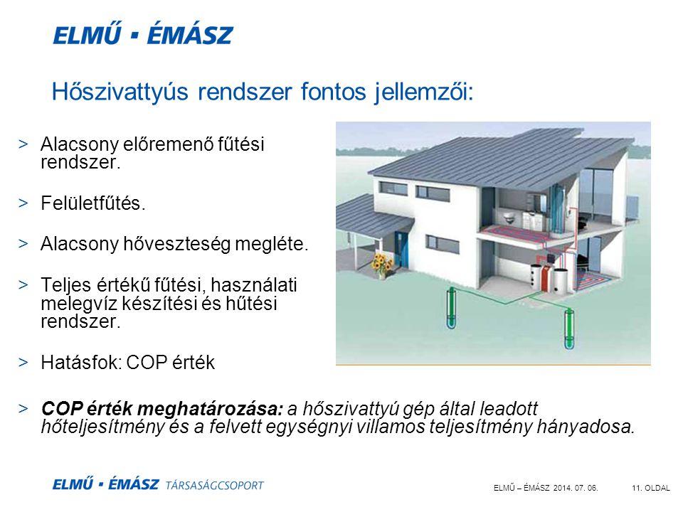 ELMŰ – ÉMÁSZ 2014. 07. 06.11. OLDAL Hőszivattyús rendszer fontos jellemzői: >Alacsony előremenő fűtési rendszer. >Felületfűtés. >Alacsony hőveszteség