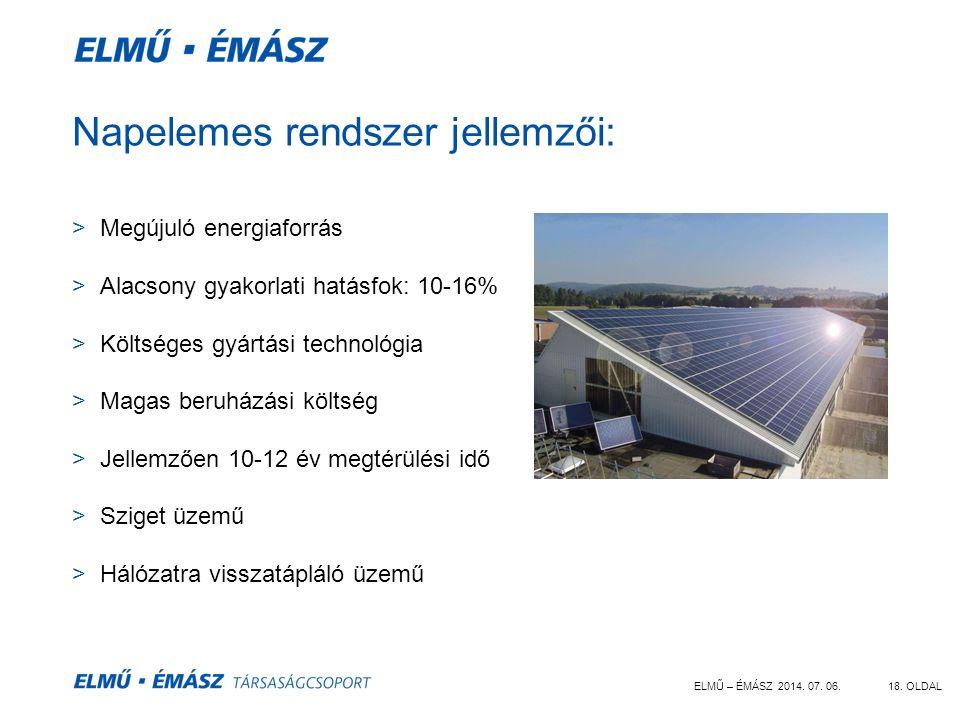 ELMŰ – ÉMÁSZ 2014. 07. 06.18. OLDAL Napelemes rendszer jellemzői: >Megújuló energiaforrás >Alacsony gyakorlati hatásfok: 10-16% >Költséges gyártási te