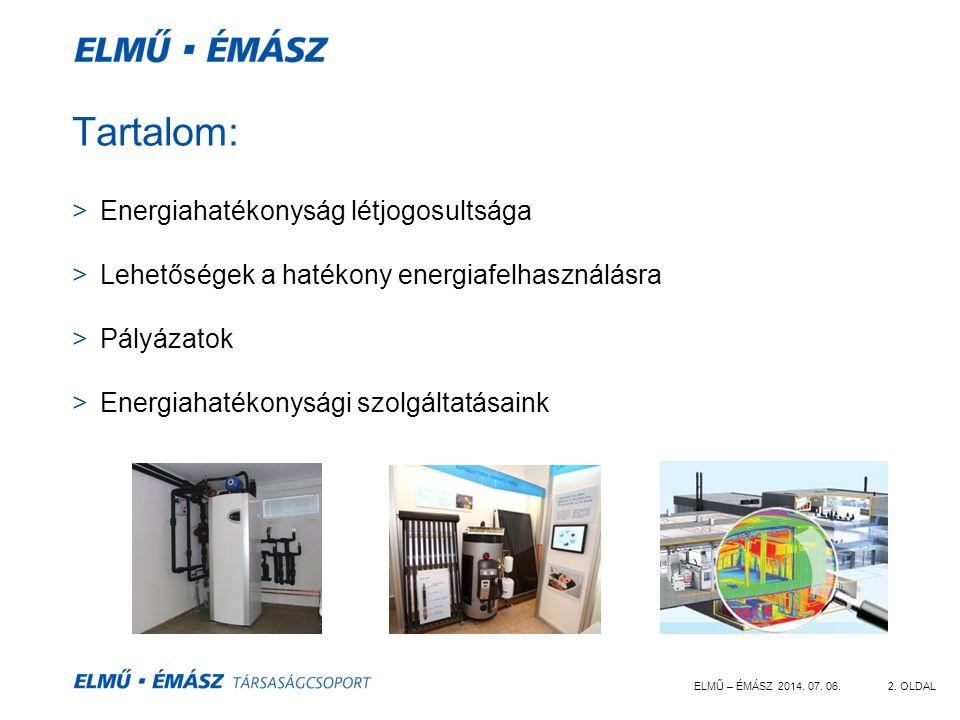 ELMŰ – ÉMÁSZ 2014. 07. 06.2. OLDAL Tartalom: >Energiahatékonyság létjogosultsága >Lehetőségek a hatékony energiafelhasználásra >Pályázatok >Energiahat