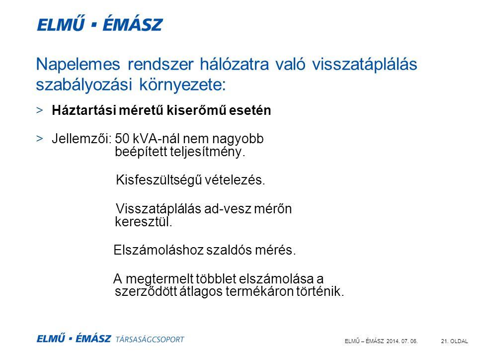 ELMŰ – ÉMÁSZ 2014. 07. 06.21. OLDAL Napelemes rendszer hálózatra való visszatáplálás szabályozási környezete: >Háztartási méretű kiserőmű esetén >Jell