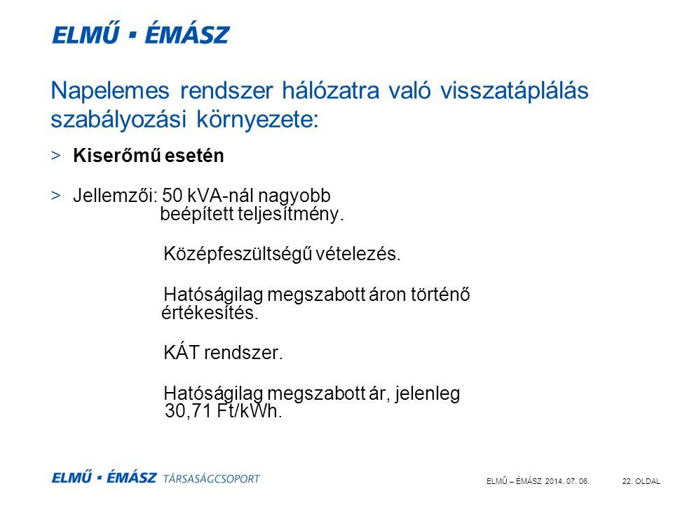 ELMŰ – ÉMÁSZ 2014. 07. 06.22. OLDAL Napelemes rendszer hálózatra való visszatáplálás szabályozási környezete: >Kiserőmű esetén >Jellemzői: 50 kVA-nál