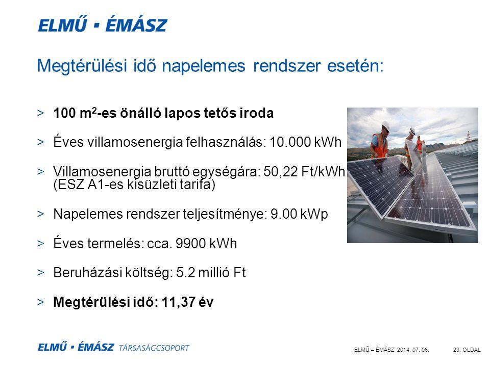 ELMŰ – ÉMÁSZ 2014. 07. 06.23. OLDAL Megtérülési idő napelemes rendszer esetén: >100 m 2 -es önálló lapos tetős iroda >Éves villamosenergia felhasználá