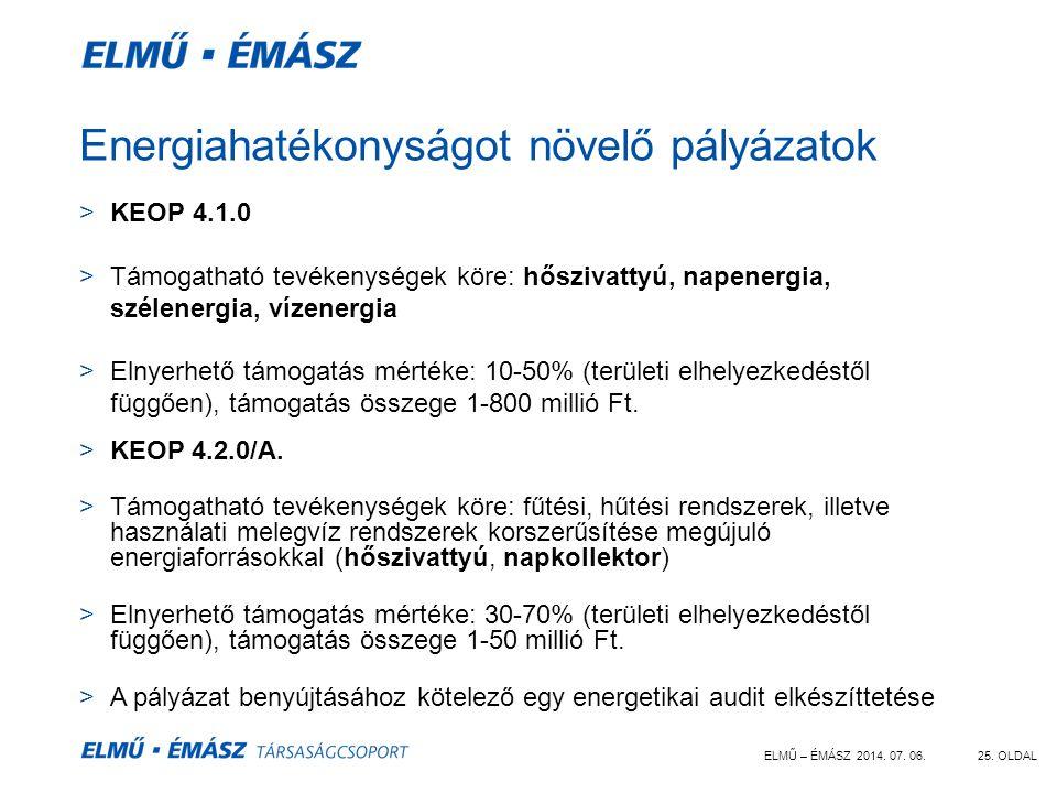 ELMŰ – ÉMÁSZ 2014. 07. 06.25. OLDAL Energiahatékonyságot növelő pályázatok >KEOP 4.1.0 >Támogatható tevékenységek köre: hőszivattyú, napenergia, széle