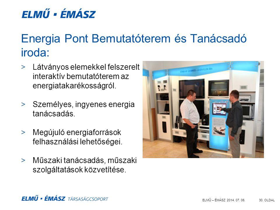 ELMŰ – ÉMÁSZ 2014. 07. 06.30. OLDAL Energia Pont Bemutatóterem és Tanácsadó iroda: >Látványos elemekkel felszerelt interaktív bemutatóterem az energia