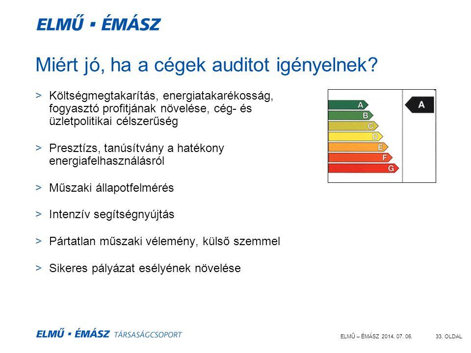 ELMŰ – ÉMÁSZ 2014. 07. 06.33. OLDAL Miért jó, ha a cégek auditot igényelnek? >Költségmegtakarítás, energiatakarékosság, fogyasztó profitjának növelése