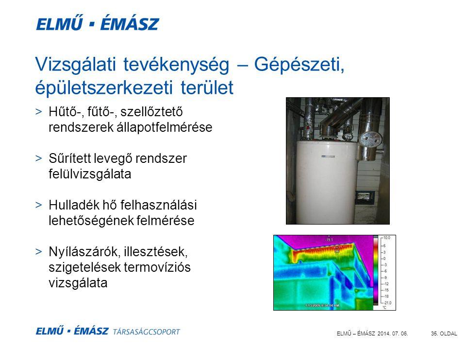 ELMŰ – ÉMÁSZ 2014. 07. 06.35. OLDAL Vizsgálati tevékenység – Gépészeti, épületszerkezeti terület >Hűtő-, fűtő-, szellőztető rendszerek állapotfelmérés